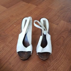 Shoes - STEVE MADDEN WHITE LEATHER HEELS...SIZE 9